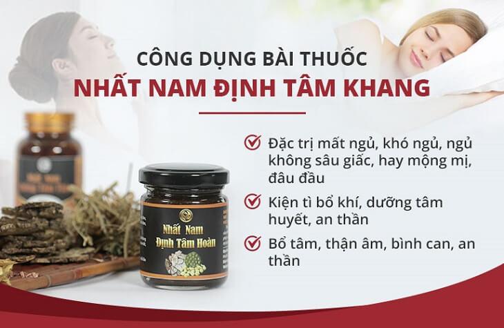 Công dụng chung của bài thuốc Nhất Nam Định Tâm Khang