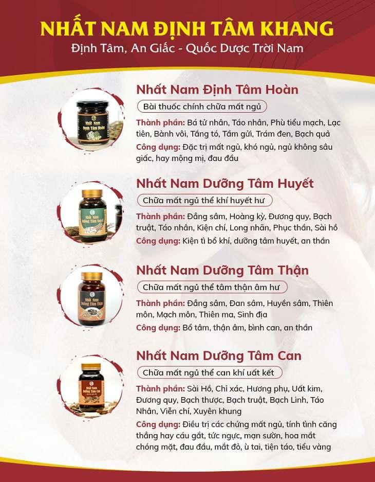 4 bài thuốc nhỏ trong bộ sản phẩm Nhất Nam Định Tâm Khang